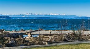 Olympics From Seahurst Beach 2. A view of the Olympic Mountains from Seahurst Beach Park in Burien, Washington stock images