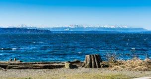 Olympics From Seahurst Beach 5. A view of the Olympic Mountains from Seahurst Beach Park in Burien, Washington stock image
