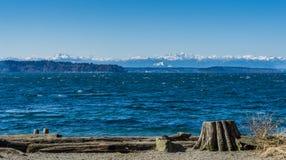 Olympics From Seahurst Beach 6. A view of the Olympic Mountains from Seahurst Beach Park in Burien, Washington stock image