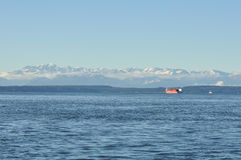 View of the Olympic Peninsula. View of the Olympic Peninsula from Seattle Stock Photo