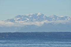 View of the Olympic Peninsula. View of the Olympic Peninsula from Seattle Stock Image