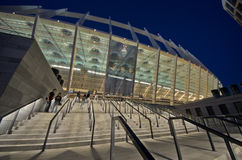 A view of the Olympic Stadium in Kiev. KIEV,UKRAINE-MAY 10: exterior  nightview of the olympisky stadium  on 10th may,2012, in Kiex,Ukraine. The city capital Royalty Free Stock Photos