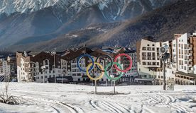 View of  the Olympic village Rosa Khutor, Sochi. Landscape with the Olympic village Rosa Khutor, the place of the Olympic Winter games 2014, Krasnaya Polyana Stock Photos