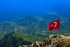 View of Olympos. Aerial view of Olympos ( Kumluca district of Antalya Province, Turkey ) and mountain range of  Central Taurus from top of Mt.Tahtali Stock Photography