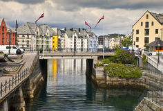 View On A Small Harbour In Alesund, Norway Stock Photo