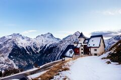 Free View On Alpine Village And Mountain Range With High Snowy Peaks, Les Deux Alpes, French Alps Royalty Free Stock Photography - 169119277