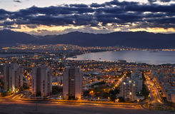 View On Aqaba Gulf At Sunrise, Eilat, Israel Stock Photos