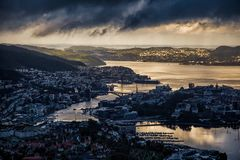Free View On Bergen And Harbor From The Mountain Top Stock Images - 165761484