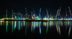 View On Busy Port At Night Stock Image