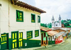 Free View On Colonial Buildings And White Church In The Colonial City Of Jerico, Colombia Stock Photos - 158379313