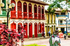 Free View On Colorful Red Colonial Buildings At Central Square Of Village Jerico In Colombia Stock Photos - 158125553