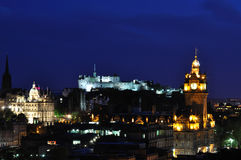 View On Edinburgh Castle In Night Stock Photos