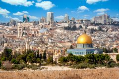 Free View On Jerusalem And The Temple Mount With The Dome Of The Rock And The Mount Of Olives. Palestine-Israel Stock Photo - 168629050