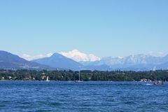 View On Mont-Blanc Over Lake Royalty Free Stock Photos