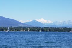 View On Mont-Blanc Over Lake Royalty Free Stock Images