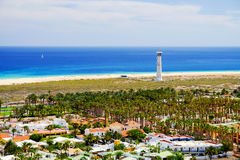 View On Morro Jable And A Lighthouse On Fuerteventura, Spain. Stock Image
