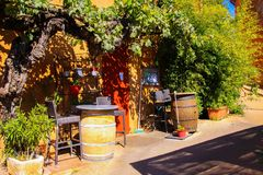 Free View On Red Ochre Mediterranean House With Vine Climbing The Facade, Wine Barrels And Trees In Bright Autumn Sun Royalty Free Stock Photography - 161511057