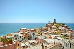 Free View On Roof Landscape And Castle Of Vernazza, Village In The Cinque Terre, Liguria Italy Stock Photos - 107084453
