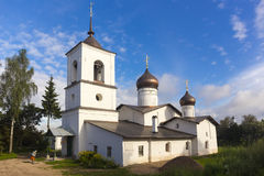 Free View On Suspension Bridge And St. Nicholas Church In Ostrov Stock Image - 90489741