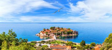 Free View On Sveti Stefan Island From The Rock, Aerial Panorama, Budva Region, Montenegro Royalty Free Stock Images - 200818979