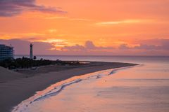 View On The Beach Morro Jable On Sunrise. Fuerteventura, Canary Islands Stock Photography