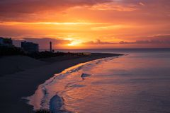 View On The Beach Morro Jable On Sunrise. Fuerteventura, Canary Islands Royalty Free Stock Photos
