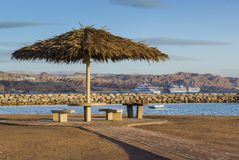 Free View On The Gulf Of Aqaba From Sandy Beach Of Eilat Royalty Free Stock Photo - 28644405