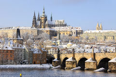 View On The Snowy Prague Gothic Castle With Charles Bridge, Czech Republic Stock Image