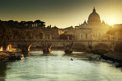 Free View On Tiber And St Peter Basilica Royalty Free Stock Photography - 43827497