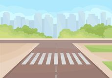 Free View On Traffic Intersection With Crosswalk. Green Bushes And High-rise Buildings On Background. Flat Vector Design Stock Image - 136936811