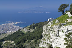 View On Trapani And Egadi Islands From Erice Stock Photo