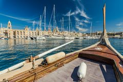 View from onboard of traditional boat in Malta.  Royalty Free Stock Images