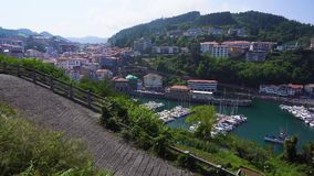 Ondarroa town and port. View of Ondarroa town and port from above, Pais Vasco Spain stock video