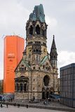 War Memorial in Berlin. View of one of Berlin`s most famous landmarks, the Kaiser Wilhelm Memorial Church on April 14, 2017 in Berlin, Germany. The ruin of the Stock Photos