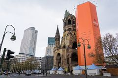 War Memorial in Berlin. View of one of Berlin`s most famous landmarks, the Kaiser Wilhelm Memorial Church on April 14, 2017 in Berlin, Germany. The ruin of the Royalty Free Stock Images