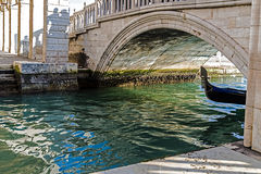 View at one Canal with gondola in Venice Royalty Free Stock Photo