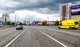 View on one of central street in Kazan city stock images