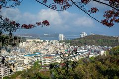 View of one of the districts of Sanya city. Hainan Island, China.  stock photography