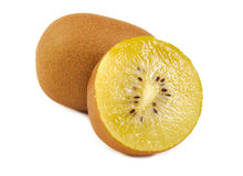 View of one and a half gold kiwi. Yellow kiwi Royalty Free Stock Photography