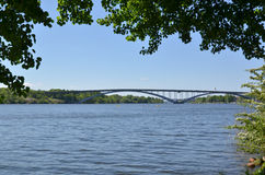 View at one of the many bridges in the green city of Stockholm - Royalty Free Stock Images