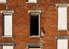 Broken Window - Abandoned Glencoe-Auburn Residences - Cincinnati, Ohio. A view of one of the many broken windows at the abandoned and now demolished Glencoe Royalty Free Stock Image
