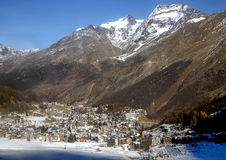View of one of the most popular ski resort of Saas-Fee Stock Images