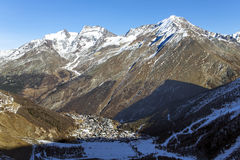 View of one of the most popular ski resort of Saas-Fee Royalty Free Stock Photo