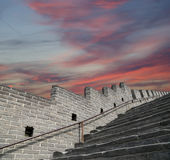 View of one of the most scenic sections of the Great Wall of China, north of Beijing Royalty Free Stock Images