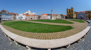 View of one part at Union Square in Timisoara, Romania. TIMISOARA, ROMANIA - AUGUST 16, 2017: View of one part at Union Square in Timisoara, Romania, with old Royalty Free Stock Images