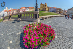 View of one part at Union Square in Timisoara, Romania. TIMISOARA, ROMANIA - AUGUST 16, 2017: View of one part at Union Square in Timisoara, Romania, with old Stock Photos