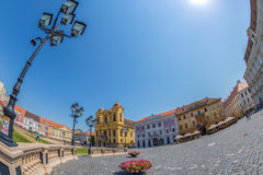 View of one part at Union Square in Timisoara, Romania. TIMISOARA, ROMANIA - AUGUST 16, 2017: View of one part at Union Square in Timisoara, Romania, with old Royalty Free Stock Photo