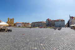 View of one part at Union Square in Timisoara, Romania. TIMISOARA, ROMANIA - AUGUST 24, 2017: View of one part at Union Square in Timisoara, Romania, with old Royalty Free Stock Photography