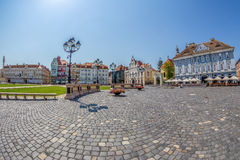 View of one part at Union Square in Timisoara, Romania. TIMISOARA, ROMANIA - AUGUST 16, 2017: View of one part at Union Square in Timisoara, Romania, with old Stock Photography
