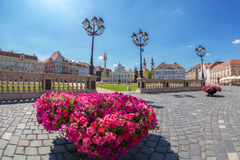 View of one part at Union Square in Timisoara, Romania. TIMISOARA, ROMANIA - AUGUST 24, 2017: View of one part at Union Square in Timisoara, Romania, with old Stock Photo